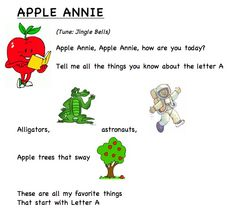 Letter song A (words by Frog Street press). All the poems A-Z print out Freebie Kindergarten Songs, Preschool Music, Preschool Letters, Preschool Curriculum, Alphabet Activities, Preschool Ideas, Homeschool, Animal Activities, Preschool Classroom