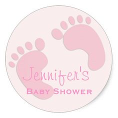 Baby Girl Pink Footprint Simple Shower Stickers