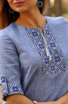 Neck Designs For Suits, Sleeves Designs For Dresses, Sleeve Designs, Salwar Designs, Kurta Designs Women, Blouse Designs, Simple Kurta Designs, Kurti Embroidery Design, Kurta Neck Design