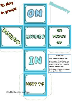 Prepositions of place - words DICE - English ESL Worksheets English Prepositions, English Vocabulary, English Grammar, Teaching English, Teaching Spanish, English Lessons, Learn English, French Lessons, Spanish Lessons