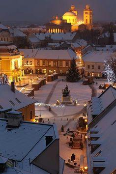 Dobó tér télen- Eger Slovenia, Czech Republic, Homeland, Hungary, Croatia, Austria, Explore, Mansions, House Styles