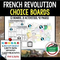 French Revolution Choice Board Activities (Paper and Google Drive Versions)VISIT MY STORE AND FOLLOW TO GET UPDATES WHEN NEW RESOURCES ARE ADDED Also Included in World History MEGA BUNDLE Part 2Also Included in World History Part 2 Choice Board BUNDLEAlso Included in French Revolution BUNDLEIncluded:2 Choice Boards24 Activities42 Activity Pages (B/W and color) (Digital and Paper Option)Also Included in World History MEGA BUNDLE Part 2Instructions for using this packet: Option 1: These pages…