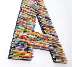 letters, numbers, symbols made with recycled magazines- colorful, unique, nursery decoration