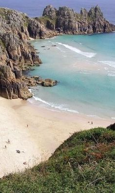 Porthcurno Beach nr The Minack Theatre, Cornwall by Gloria Garcia