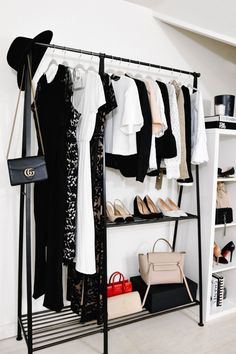 Gorgeous 44 Creative Open Closet Design Ideas For Your Bedroom That You Need To Have Ikea Closet, Closet Bedroom, Bedroom Storage, Room Decor Bedroom, Clothes Rack Bedroom, White Clothing Rack, Clothing Racks, Rack Of Clothes, Ikea Clothes Hanger