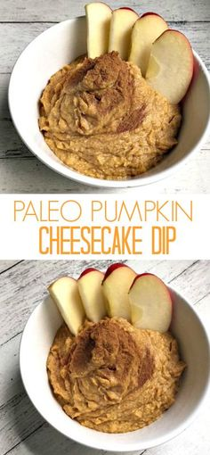 This easy healthy paleo pumpkin cheesecake dip is made with only six ingredients! A dairy-free fruit dip without cream cheese that tastes like pumpkin pie.