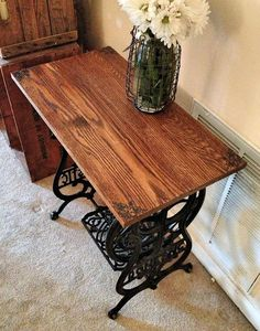 reclaimed wood sewing machine table, painted furniture, repurposing upcycling