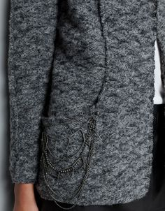 Cardi/Jacket over jeans (not skirt!)  BOUCLE KNIT CARDIGAN WITH POCKETS AND CHAINS - Blazers - Woman - ZARA United States