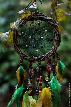 """Купить Ловец снов """"Сказки дремучего леса-2"""" - зеленый, ловец снов, ловец сновидений"""