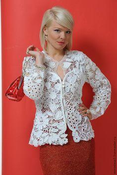 Купить Кружево от Мирославы Горохович №8 - Вязание крючком, белый, цветочный, ирландское кружево, жакет