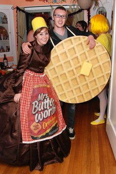 Awesome Mrs. Butterworth and waffle Halloween couples costume