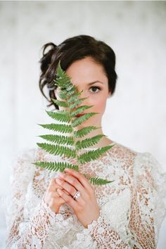 Botanical wedding bride with fern decor Fall Wedding Dresses, Colored Wedding Dresses, Cheap Wedding Dress, Wedding Bouquets, Green Wedding, Our Wedding, Wedding Story, Lace Wedding, Wedding Bride