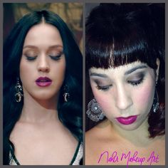 """En esta ocasión la inspiración vino a mi visionando el videoclip de Katy Perry """"Unconditionally"""" Sin duda se trata de un maquillaje muy fresco y favorecedor para cualquier ocasión, dónde toda la atención recae sobre los labios en tono morado vibrante, muy llamativo y femenino, con unas mejillas sonrrosadas en tono frambuesa."""