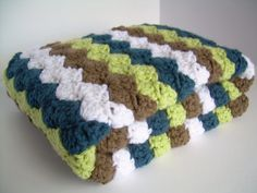Crochet Baby Blanket, Baby Blanket, Crochet Baby Boy Blanket, Cape Cod Blue, White, Chocolate Brown, and Fern Green, travel, stroller size on Etsy, $46.83 AUD