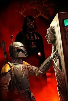 Han Solo in carbonite with Boba Fett and Darth Vader Star Wars Art