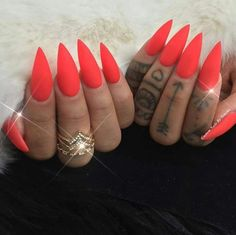 Gorgeous bright red stiletto nails