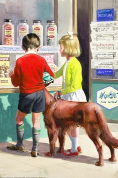 Peter, Jane and Pat are in a sweetshop choosing sweets to buy.  Sweet Shop  Illustrator:M. Atchinon  Ladybird Book: 3b Boys and girls book 1964