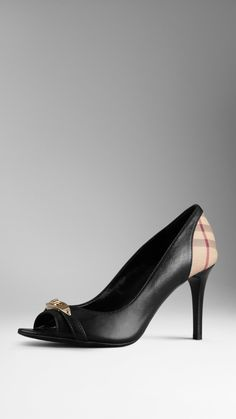 Check Detail Leather Peep-Toe Pumps | Burberry