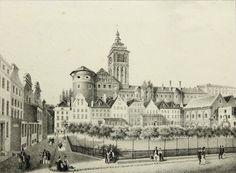 A.SCHAMBERG(19.Jh), Der altstädtische Kirchplatz in Königsberg, Lithographie