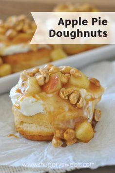 If apple pie is your family's favorite dessert, then this breakfast treat is something you have to try! Easy Gourmet Doughnuts are piled high with cream cheese frosting, apple pie filling, caramel, and peanuts and are ready in 30 minutes.