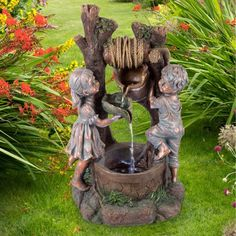 Two kids and dog outdoor water fountain outdoor water fountains children at the well water fountain with led lights lighted outdoor fountain with antique design workwithnaturefo