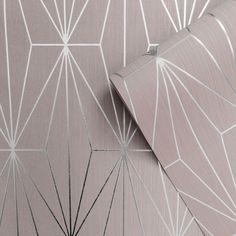 Kayla Metallic Geometric Wallpaper Blush / Silver Muriva 703012 Kayla Metallic G Pink Wallpaper Bedroom, Pink And Grey Wallpaper, Blush Wallpaper, Hallway Wallpaper, Metallic Wallpaper, Paper Wallpaper, Textured Wallpaper, Next Wallpaper Living Room, Birthday Wallpaper