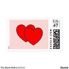 Two Hearts Pink Postage Stamp 30% off with code GIFTYOURSELF