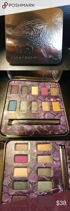 New & Limited Edition Urban Decay Mariposa Palette New! Limited Edition Sephora Exclusive! Collectable!  Holiday Release 2009 Metal Palette 10 pan eyeshadow palette Rockstar Gunmetal Skimp Infamous Wreckage Haight Money Mushroom Spotlight Limelight Comes with a travel size shadow brush Great deal! Includes $102 worth of shadows & a $26 brush  Approximate value: $125  Price Firm Unless Bundled Urban Decay Makeup Eyeshadow