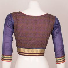 Hand Block Printed Cotton Blouse With Kota Sleeves & Mukaish Embroidery 10036914 - Size 38 Birthday Greetings For Daughter, Pattern Sewing, Blouse Online, Cotton Blouses, Blouse Designs, Printed Cotton, Ethnic, Men Sweater, India