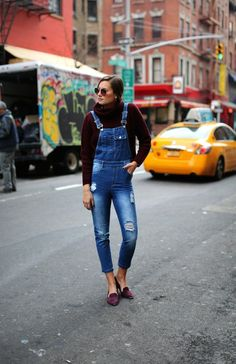Pair a turtleneck and overalls for winter.
