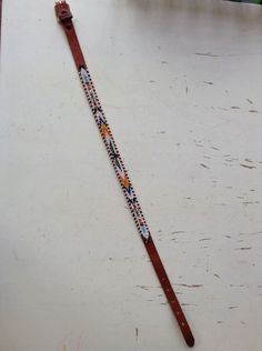 Vintage Native American Child's Tooled Leather Beaded Belt With Tribal Design