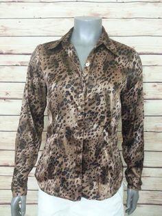 Rafaella button front shirt animal print womens size 8 long sleeve wear to work #Rafaella #ButtonDownShirt #Career