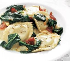 ... ravioli, and spinach (my family won't touch spinach and begged for