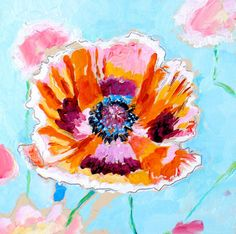 Orange Poppy Painting via Etsy