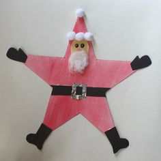 Make cowboy santa. Christmas Crafts for Kids: Santa Star Homemade Christmas Ornament - Buggy and Buddy Kids Christmas Ornaments, Homemade Christmas Decorations, Christmas Art, Christmas Ideas, Christmas Activities, Christmas Projects, Advent, Winter Crafts For Kids, Santa Crafts For Kids To Make