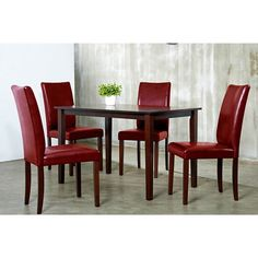 Shino Crimson 5 Piece Dining Set By Warehouse Of Tiffany
