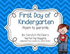 First Day of Kindergarten Poem to Parents
