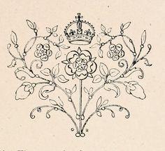 Printable ~ Ornamental Illustration; Floral, Heart, Crown, 1902