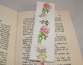 Embroidered Bookmark Clover Design - from upcycled table linen