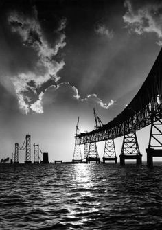 I love Bodine's beautiful images of Baltimore and Maryland... This is the construction of the Bay Bridge!
