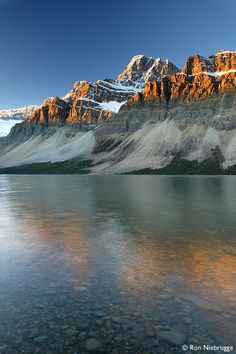 Crowfoot Mountain and Bow Lake and Sunrise, Banff National Park, Canada