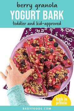 This yummy Berry Granola Yogurt Bark is perfect for breakfast, snacks or dessert for your toddler or kids. Made with 4 simple ingredients, it only takes 5 minutes to make a batch of this healthy sweet treat that kids love! #toddler #kids #yogurtbark #snack #breakfast #easy Kitchen Recipes, Baking Recipes, Healthy Store Bought Snacks, Make Your Own Granola, Healthy Sweet Treats, Healthy Snacks, Healthy Recipes, Yogurt And Granola, On The Go Snacks