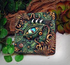 OOAK Polymer Clay Dragon Eye Grün & Braun 3 dimensionale