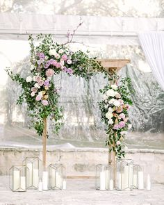 New Wedding Ceremony Flowers Indoor Chuppah Ideas Wedding Arch Greenery, Wedding Altars, Wedding Ceremony Backdrop, Ceremony Arch, White Wedding Flowers, Wedding Table, Floral Wedding, White Flowers, Wedding Ideas