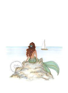 Mermaid Rock Brunette Fashion Illustration Coast Line- Beach House - Ocean Print Mermaid On Rock, Mermaid Sign, The Little Mermaid, Mermaid Mermaid, Manga Mermaid, Mermaid Tails, Mermaid Wall Art, Mermaid Drawings, Mermaid Tattoos