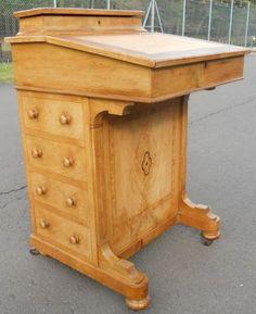 Victorian Light Walnut Davenport Desk