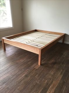 King Platform Bed Frame, Diy Platform Bed, Simple Bed Frame, Diy Bed Frame, Making A Bed Frame, Bed Designs With Storage, Homemade Beds, Custom Bunk Beds, Bed Hardware