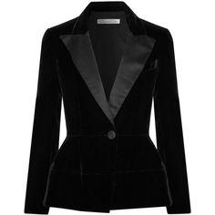 Oscar de la Renta Silk satin-trimmed velvet blazer ($2,990) ❤ liked on Polyvore featuring outerwear, jackets, blazers, black, oscar de la renta blazer, peplum blazer, oscar de la renta, velvet blazer and velvet jacket