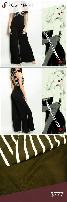 """Sexy wide legged jumpsuit MADE IN THE USA Brand new without tags Boutique item, price is firm   Gorgeous and flattering jumpsuit. Black and white striped upper featuring sexy plunging neckline and open back. Lower part black with slits on sides, pic #2.  Small Bust 32"""" around /Length57"""" Medium Bust 34"""" around/ Length57"""" Large Bust 36"""" around/Length 58"""" Upper 95% polyester 5% spandex /Lower 100% polyester      Pants Jumpsuits & Rompers"""