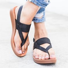 7aa2e509ad4 Plus Size Thong Buckle Flat Sandals Enjoy sandals outfit Free Shipping  59+    Easy Return